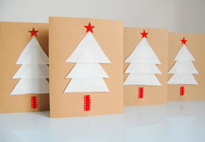 Christmas Cards using IKEA fabric scraps (2)