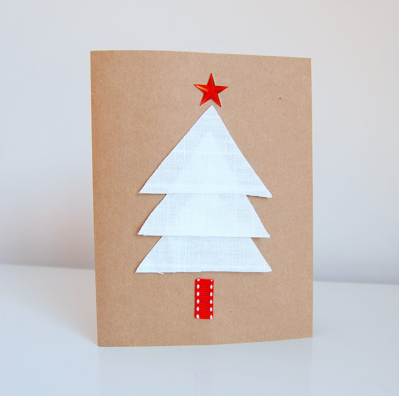 Christmas Cards using IKEA fabric scraps
