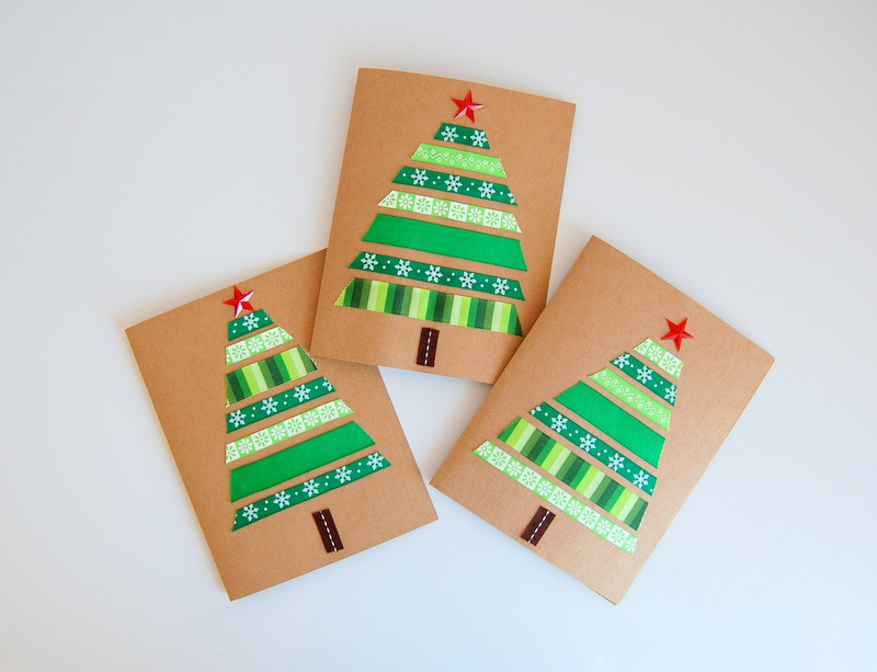 Ribbon Christmas Cards - Green - northstory