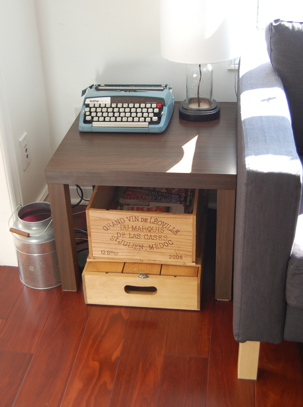 LACK side table with vintage crates