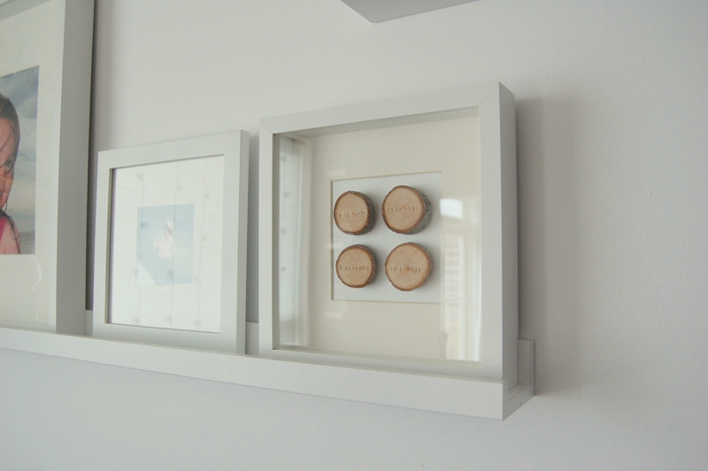 wood slice art - ikea picture ledge