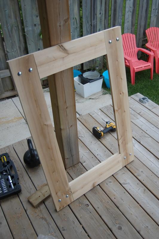 building a rustic mirror (12)