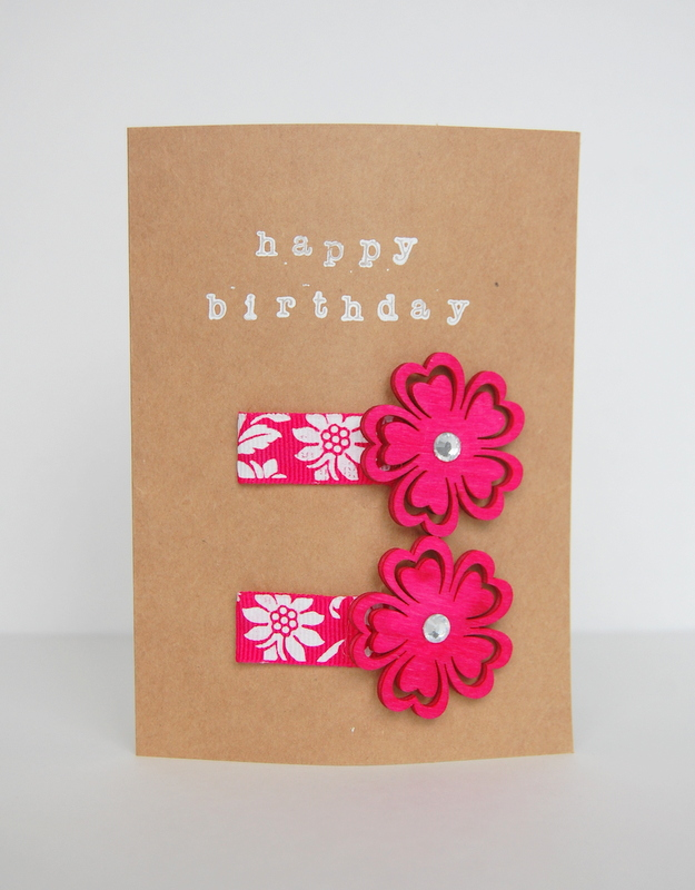 DIY hair clips birthday card