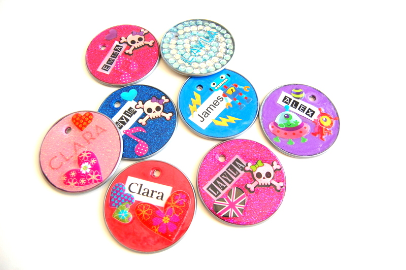 Upcycled Name Tags made from Juice Can Lids - northstory.ca
