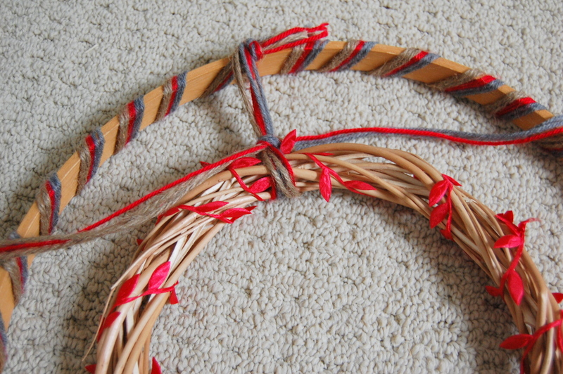 Making an embroidery hoop wreath