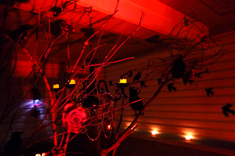 Red Lighting Halloween Porch
