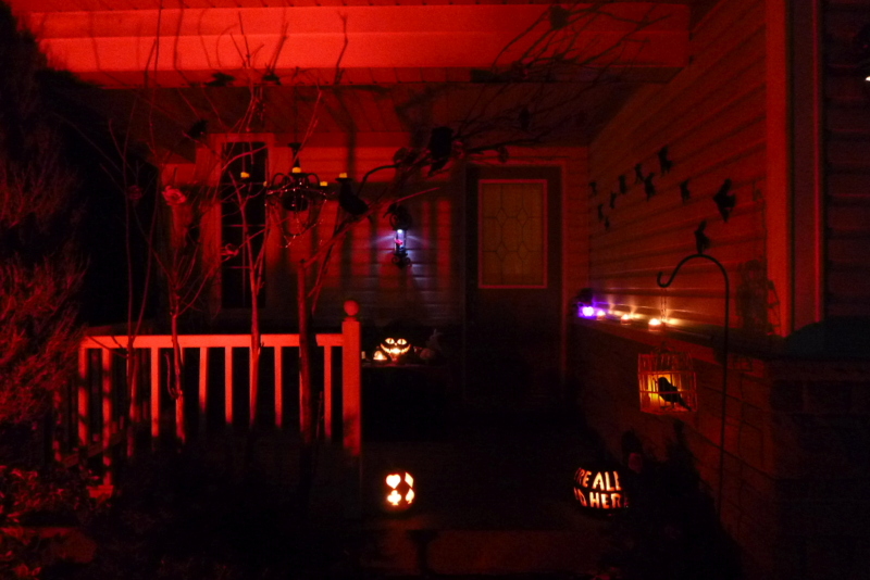 Red Lighting Halloween Porch  (2)