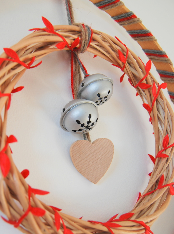 wooden Christmas wreath embellishments - hearts and bells