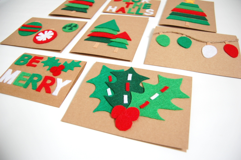 Christmas Cards red and green felt