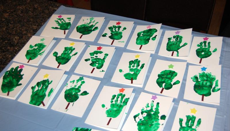 Kids Christmas Card Crafts - handprinted trees - northstory.ca
