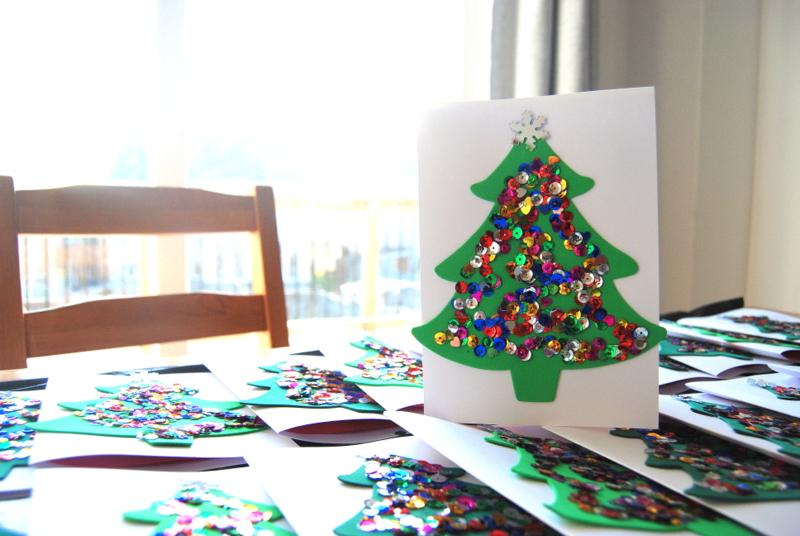 Kids Christmas Card craft - trees - northstory.ca