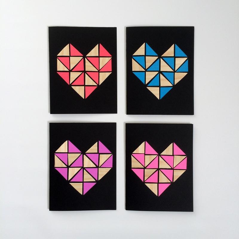 DIY Geometric Heart Cards - northstory.ca