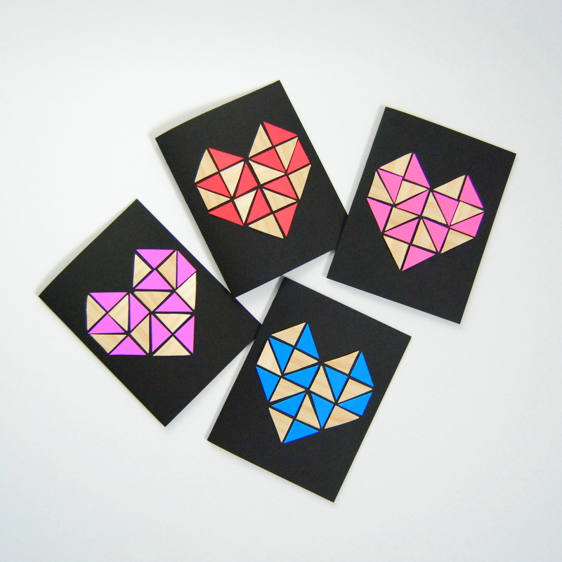 Geometric Heart Cards by northstory.ca