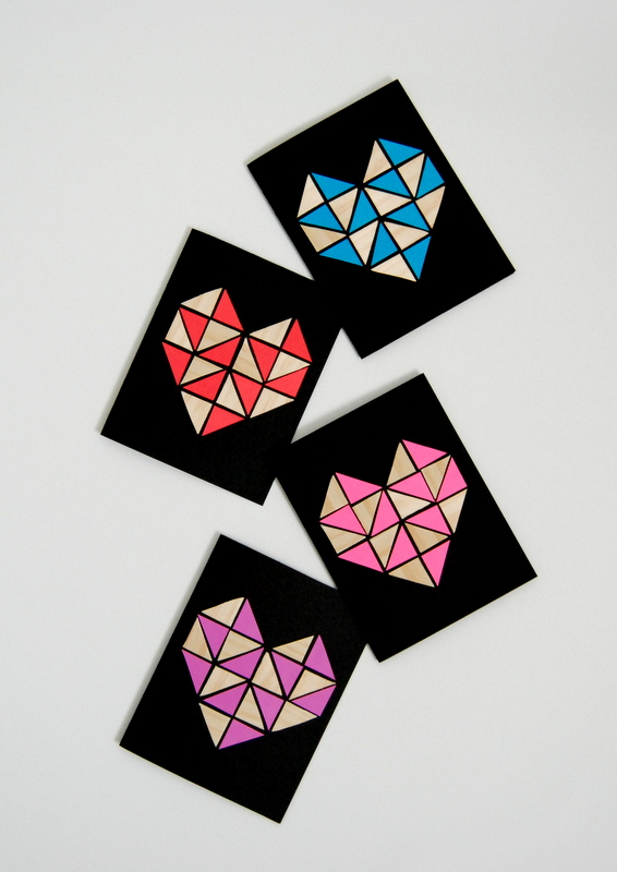 Geometric Heart Cards made with wood veneer and paper - northstory.ca