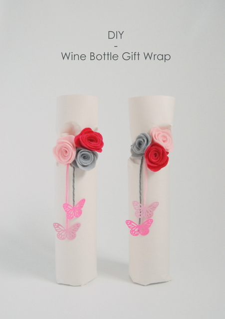 DIY Wine Bottle Gift Wrap for spring, made with felt flowers - northstory.ca