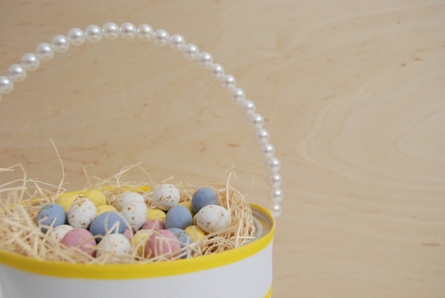 Pearl handle for upcycled easter basket - northstory.ca