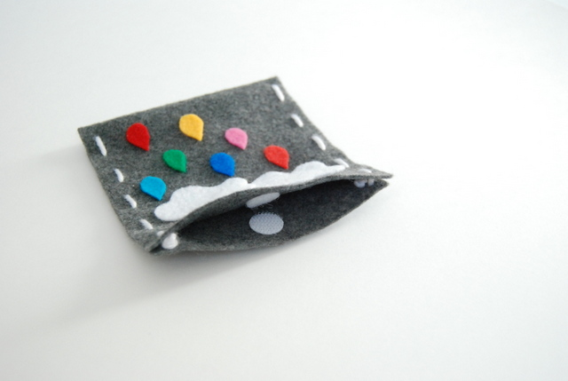 Use a velcro tab to create a closure for the felt bag - northstory.ca
