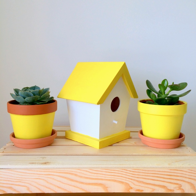 Yellow Birdhouse and terra cotta pots painted with PARA Paints Plantain Chips - northstory.ca