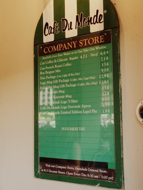 Cafe Du Monde menu French Quarter New Orleans - northstory.ca