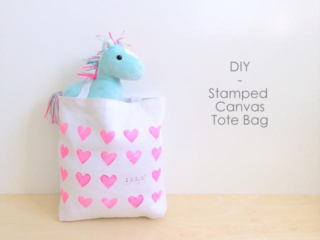 DIY Stamped Canvas Tote Bag - northstory.ca