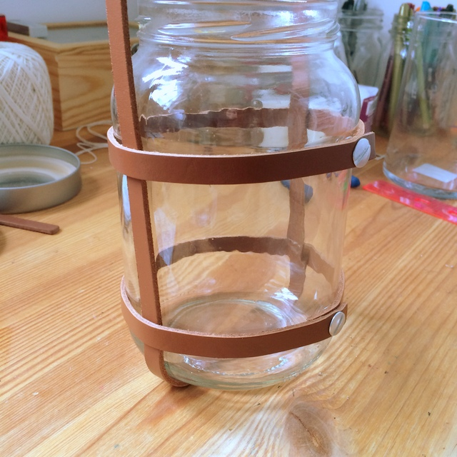 Making an upcycled leather lantern Step 4 - northstory.ca