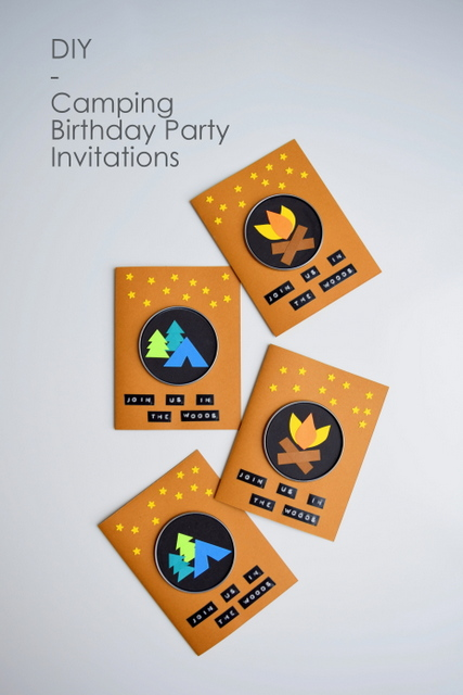 DIY Camping Birthday Party Invitations made with juice cans lids and cardstock - northstory.ca