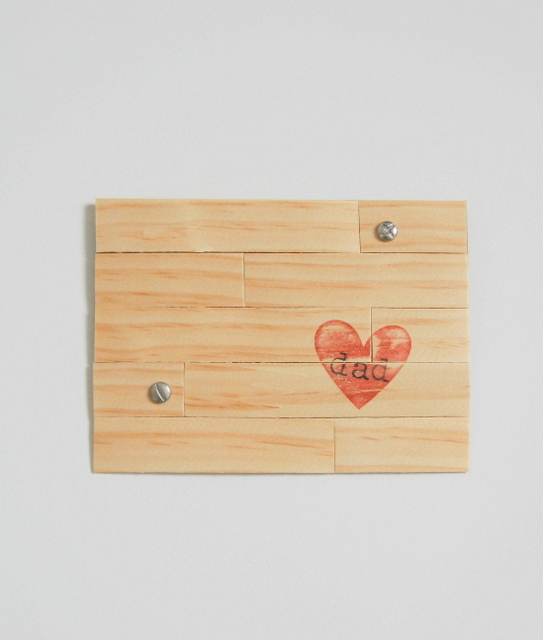 Father's Day Card Craft made from wood veneer to look like a rustic pallet - northstory.ca