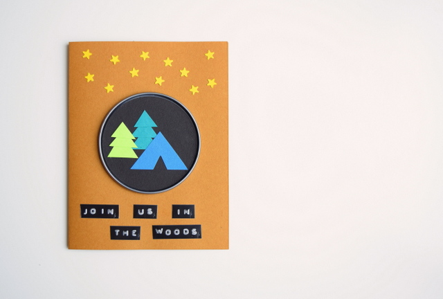 Join Us in the Woods - Camping Birthday Party invite with tent and trees - northstory.ca