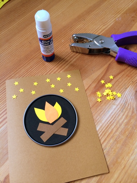 Paper stars glued on with a glue stick - northstory.ca