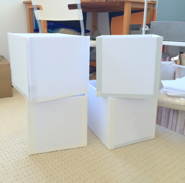 Step 5 - your custom sized storage boxes made from foam boards that are now ready to be decorated - northstory.ca