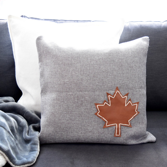 DIY Leather Embellished Pillow - Maple Leaf - Canadiana - northstory.ca -