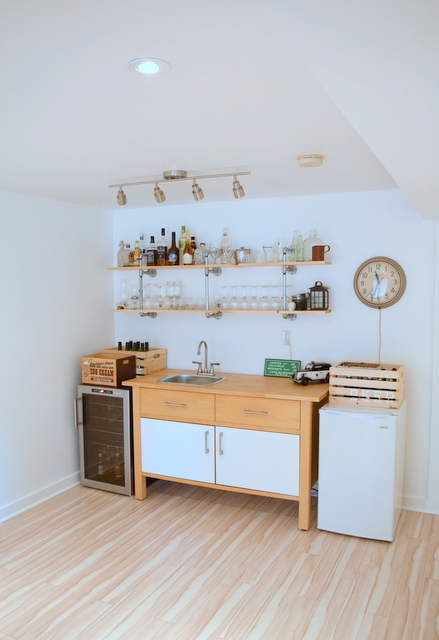 IKEA VARDE cabinet as a basement kitchenette - bar with DIY Pipe Shelves - northstory.ca