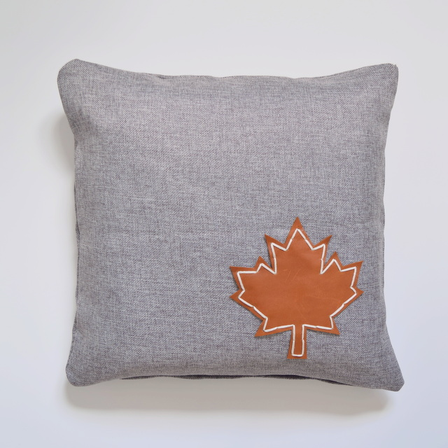 Maple Leaf Pillow - hand stitched maple leaf made from leather - northstory.ca