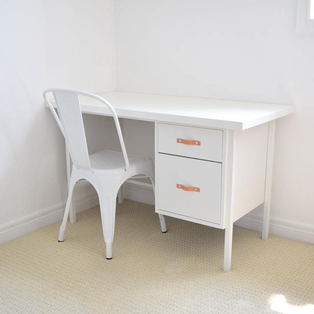 White Metal Desk with Leather Handles - northstory.ca