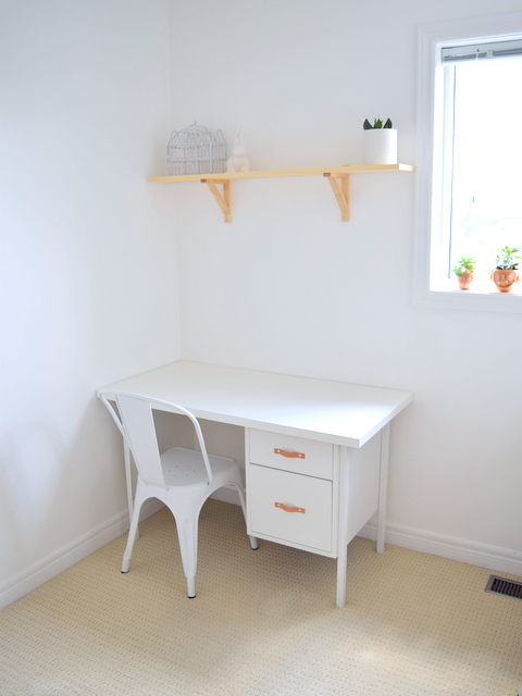 White desk with Leather Handles, Monarch Chair, Pine Shelves - Home Office in Progress - northstory.ca