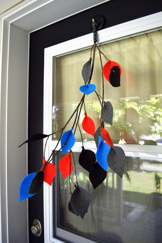 Fall front door decor - Branch with Felt Leaves in modern colours - northstory.ca