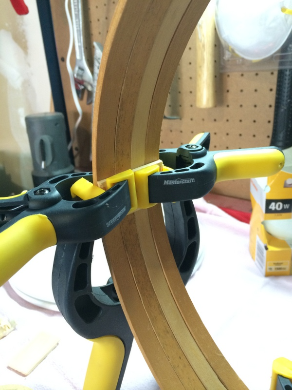 Gluing together embroidery hoops using clamps - northstory.ca