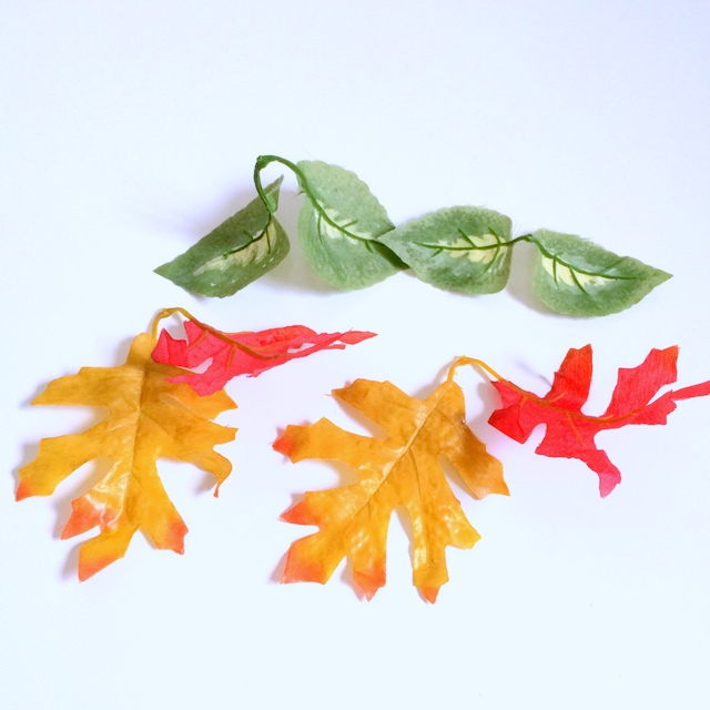 individual fake plastic leaves