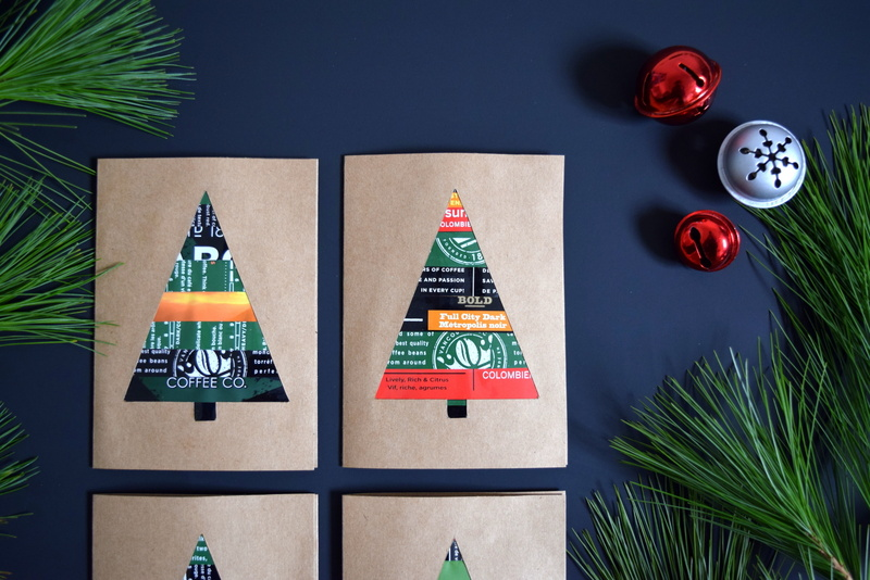 Christmas cards featuring trees made from NABOB coffee bags - northstory