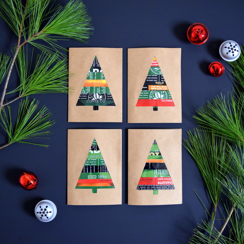 DIY Christmas Cards made from upcycled NABOB coffee bags - northstory