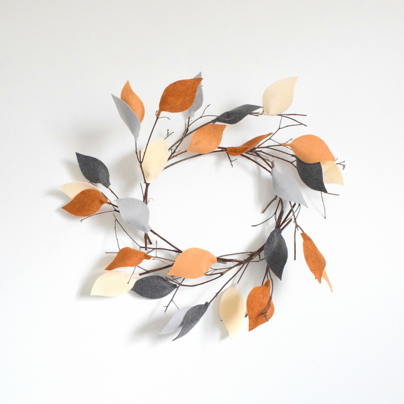 DIY Twig Wreath with Felt Leaves by northstory