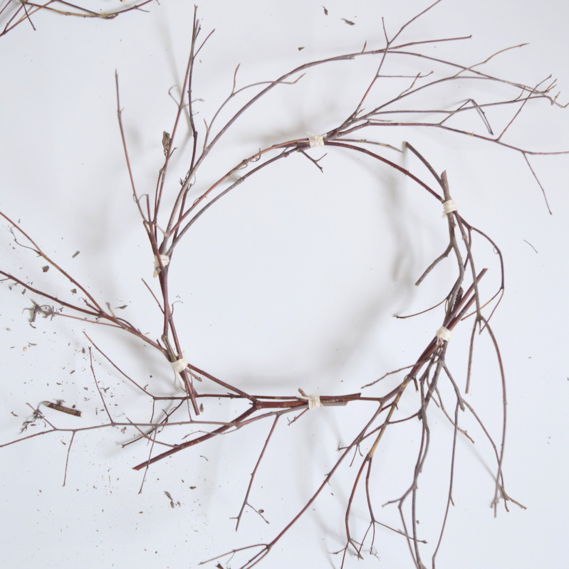 Twig wreath shape before decorating - northstory