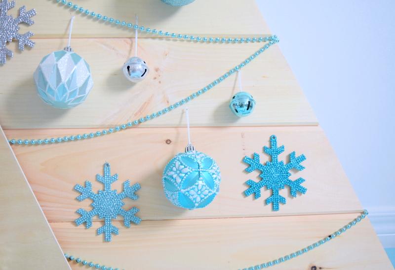 Wood Christmas Tree with aqua ornaments - northstory