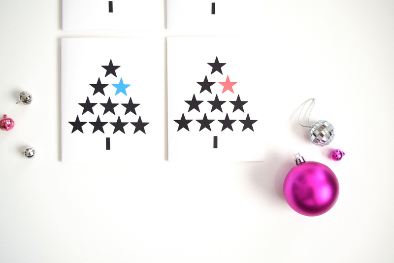 Christmas Cards - Black and white - stars - tree - northstory