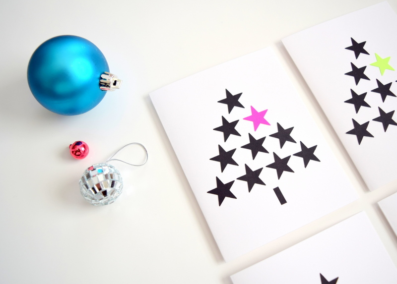 DIY Christmas cards - black and white with neon - northstory