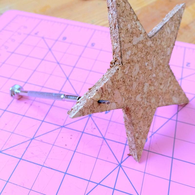 Making cork ornaments Step 1