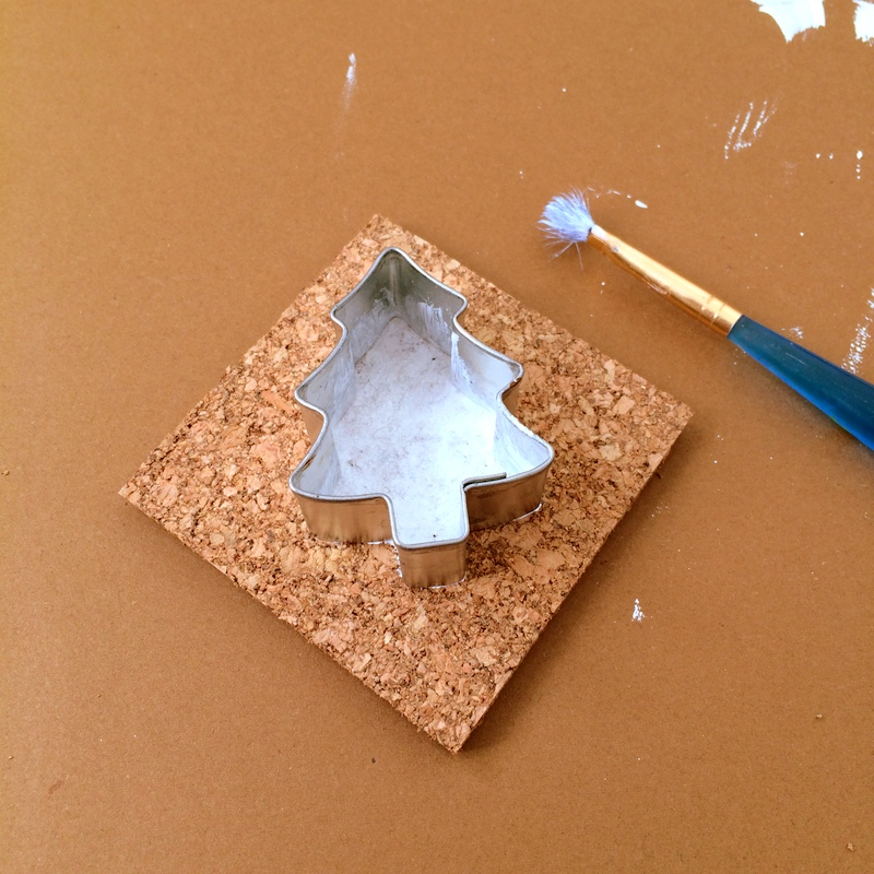 Making cork ornaments for Christmas