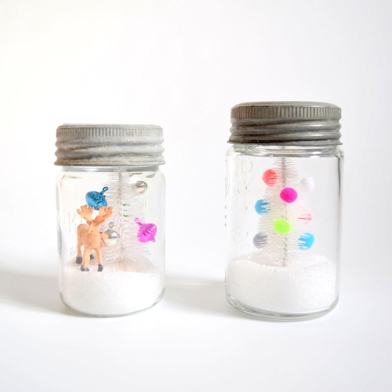 Waterless Snow Globes in vintage mason jars - northstory