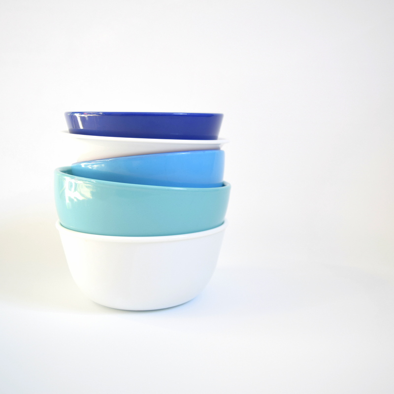 Blue and white bowl stack
