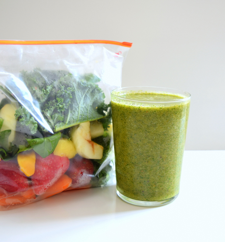 Pre-prepared frozen packs for veggie smoothies